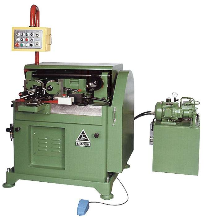 thread rolling machine is a special deisgned for serration type working piecs, UM-35H thread rolling machine is setting up with horizontal movable center-seat to roll the serration type working pieces .